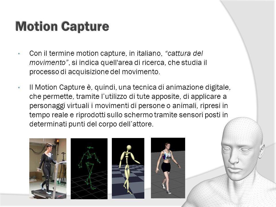 """Motion Capture Con il termine motion capture, in italiano, """"cattura del movimento"""", si indica quell'area di ricerca, che studia il processo di acquisi"""