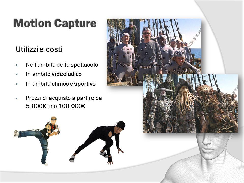 Motion Capture Utilizzi e costi Nell'ambito dello spettacolo In ambito videoludico In ambito clinico e sportivo Prezzi di acquisto a partire da 5.000€