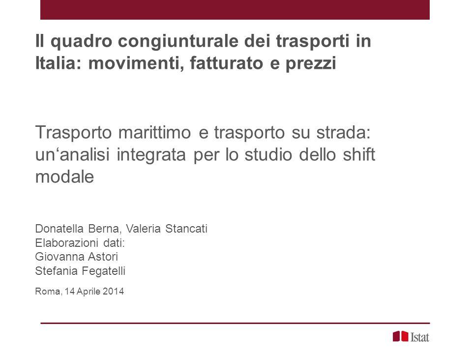 Donatella Berna, Valeria Stancati - Roma, 14 Aprile 2014 20 Il confronto mare-strada Servizio di trasporto su mare e su strada (milioni di tkm) - anni 2010 - 2012