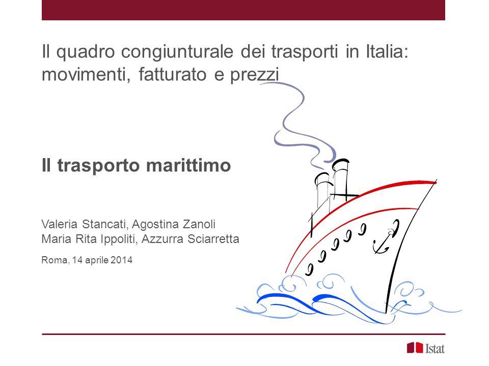 Container in Italia: andamento negli ultimi 5 anni 20 Numero di TEU movimentati nei porti Italiani (2008-2012), dati in milioni e variazione tendenziale Il trasporto marittimo, V.
