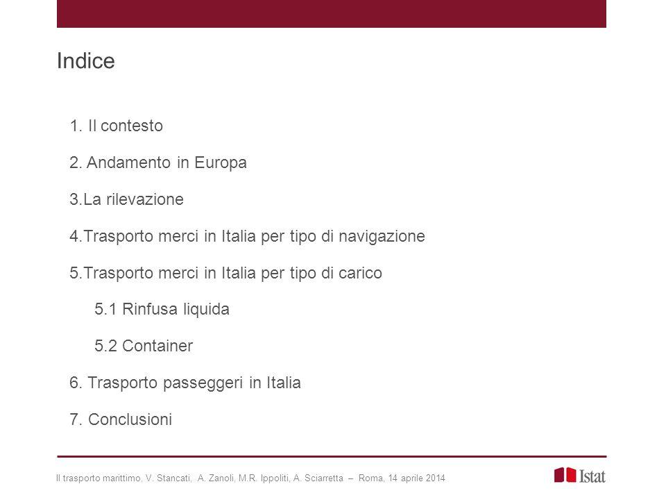 Trasporto merci in Italia per tipo di navigazione: internazionale 11 Principali paesi di imbarco/sbarco delle merci in navigazione internazionale (Dati 2012 – valori in milioni di tonnellate).