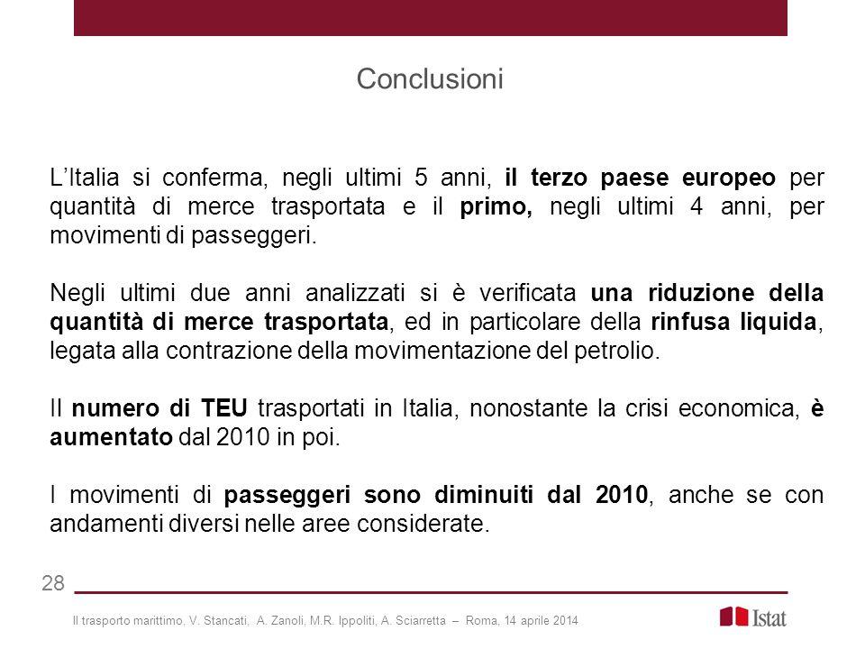 Conclusioni 28 L'Italia si conferma, negli ultimi 5 anni, il terzo paese europeo per quantità di merce trasportata e il primo, negli ultimi 4 anni, per movimenti di passeggeri.