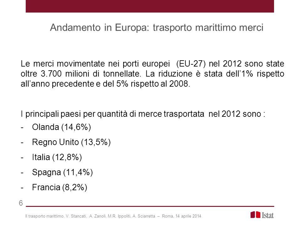 Andamento in Europa: trasporto marittimo merci 6 Le merci movimentate nei porti europei (EU-27) nel 2012 sono state oltre 3.700 milioni di tonnellate.