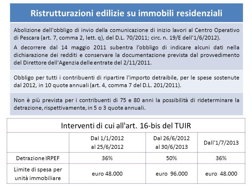 Ristrutturazioni edilizie su immobili residenziali Abolizione dell'obbligo di invio della comunicazione di inizio lavori al Centro Operativo di Pescar