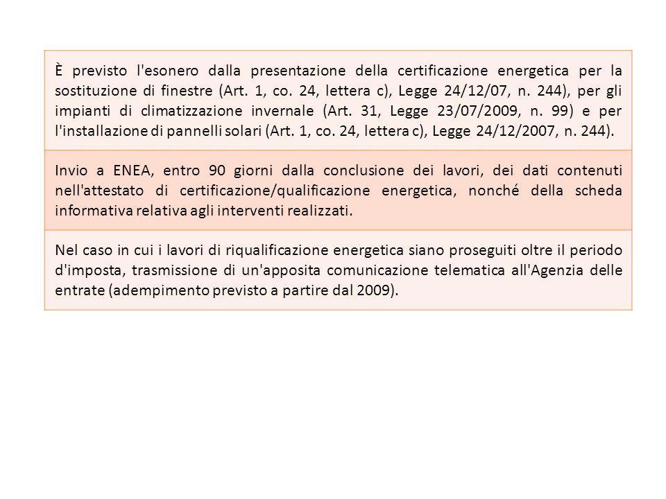 È previsto l'esonero dalla presentazione della certificazione energetica per la sostituzione di finestre (Art. 1, co. 24, lettera c), Legge 24/12/07,