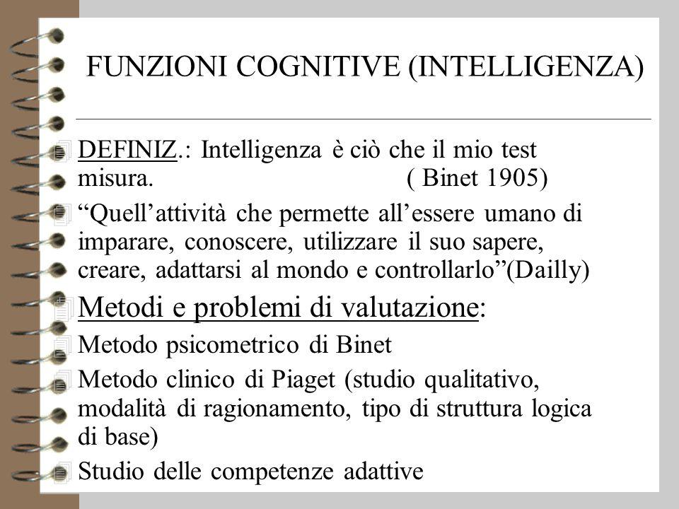 FUNZIONI COGNITIVE (INTELLIGENZA) 4 DEFINIZ.: Intelligenza è ciò che il mio test misura.