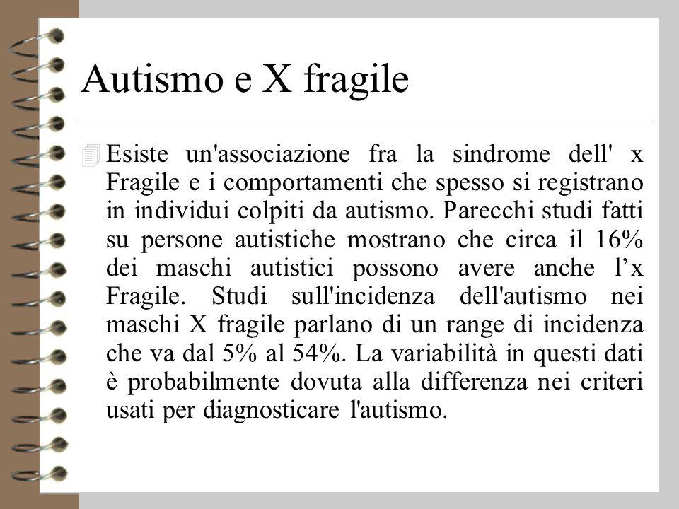 Autismo e X fragile 4 Esiste un associazione fra la sindrome dell x Fragile e i comportamenti che spesso si registrano in individui colpiti da autismo.