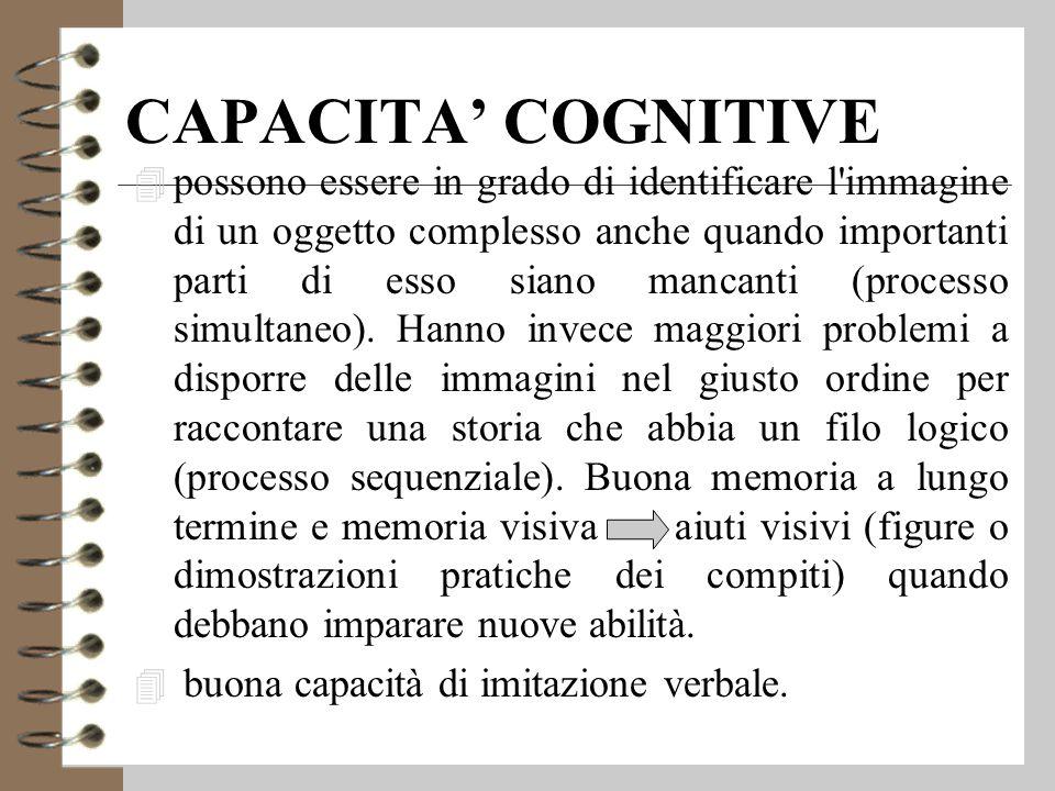 CAPACITA' COGNITIVE 4 possono essere in grado di identificare l immagine di un oggetto complesso anche quando importanti parti di esso siano mancanti (processo simultaneo).