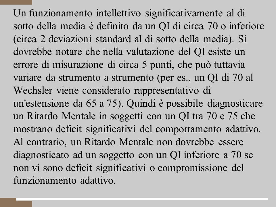 4 Un funzionamento intellettivo significativamente al di sotto della media è definito da un QI di circa 70 o inferiore (circa 2 deviazioni standard al di sotto della media).
