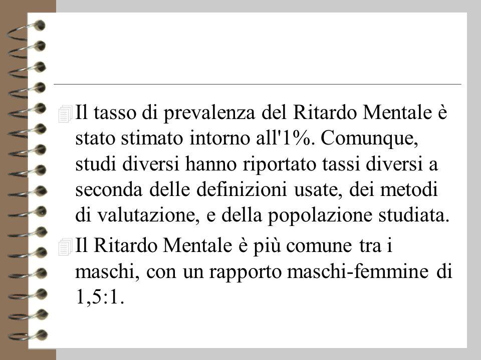 4 Il tasso di prevalenza del Ritardo Mentale è stato stimato intorno all 1%.