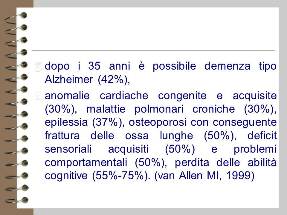 4 dopo i 35 anni è possibile demenza tipo Alzheimer (42%), 4 anomalie cardiache congenite e acquisite (30%), malattie polmonari croniche (30%), epilessia (37%), osteoporosi con conseguente frattura delle ossa lunghe (50%), deficit sensoriali acquisiti (50%) e problemi comportamentali (50%), perdita delle abilità cognitive (55%-75%).