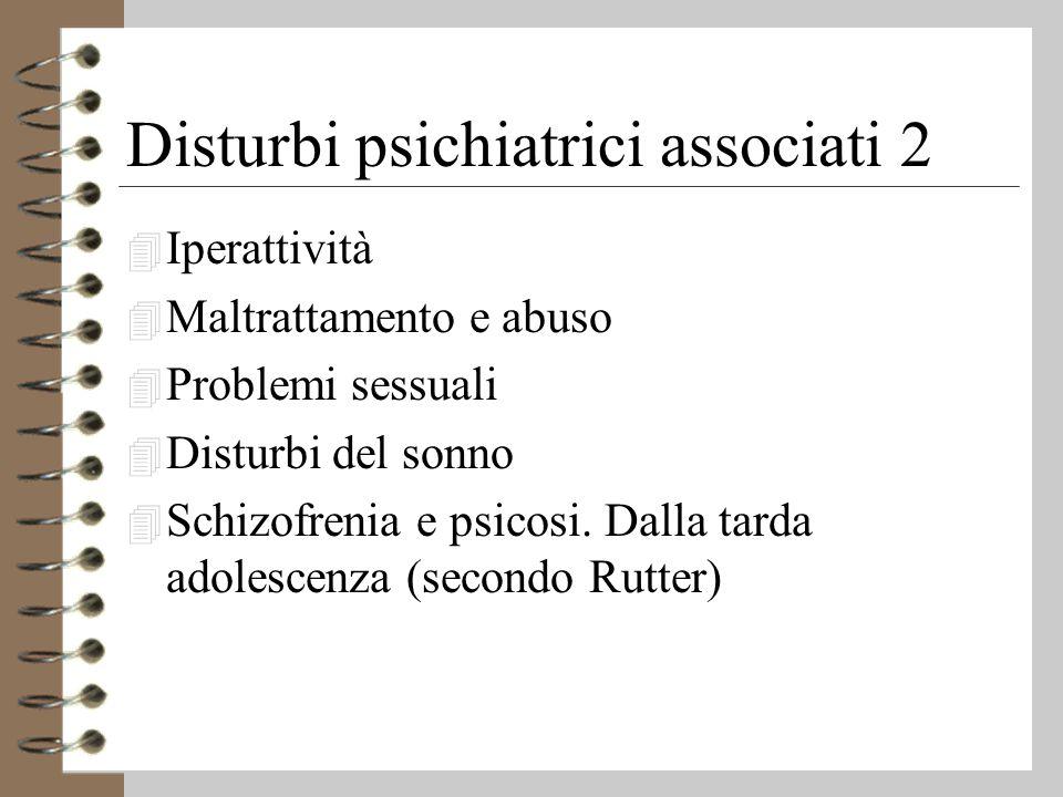 Disturbi psichiatrici associati 2 4 Iperattività 4 Maltrattamento e abuso 4 Problemi sessuali 4 Disturbi del sonno 4 Schizofrenia e psicosi.