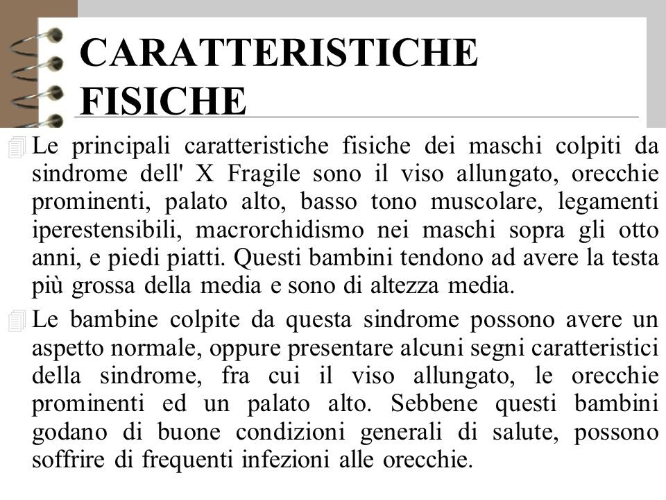 CARATTERISTICHE FISICHE 4 Le principali caratteristiche fisiche dei maschi colpiti da sindrome dell X Fragile sono il viso allungato, orecchie prominenti, palato alto, basso tono muscolare, legamenti iperestensibili, macrorchidismo nei maschi sopra gli otto anni, e piedi piatti.