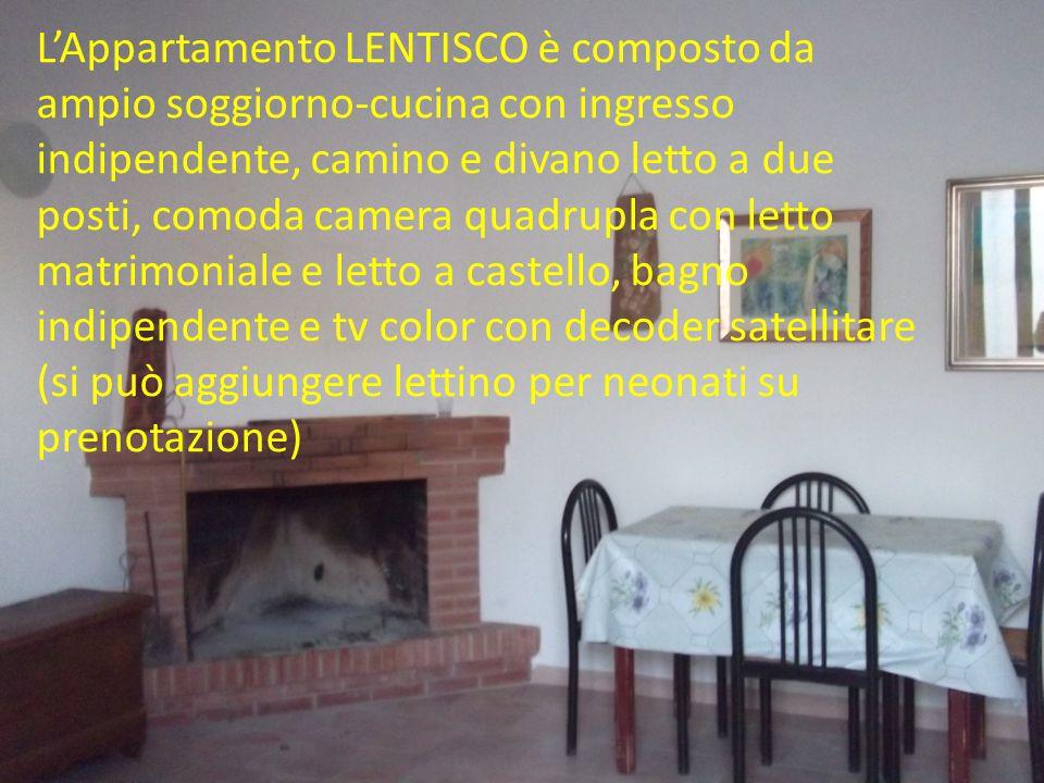 L'Appartamento LENTISCO è composto da ampio soggiorno-cucina con ingresso indipendente, camino e divano letto a due posti, comoda camera quadrupla con