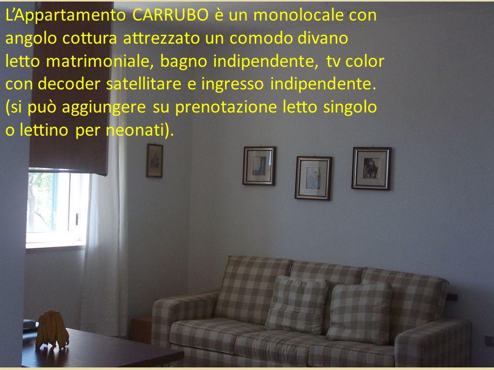 L'Appartamento CARRUBO è un monolocale con angolo cottura attrezzato un comodo divano letto matrimoniale, bagno indipendente, tv color con decoder sat