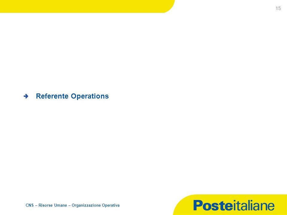 CNS – Risorse Umane – Organizzazione Operativa 15 Referente Operations