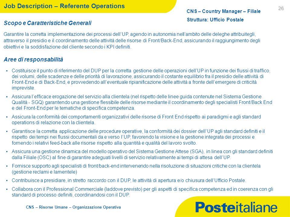 CNS – Risorse Umane – Organizzazione Operativa 26 Job Description – Referente Operations Scopo e Caratteristiche Generali Garantire la corretta implem