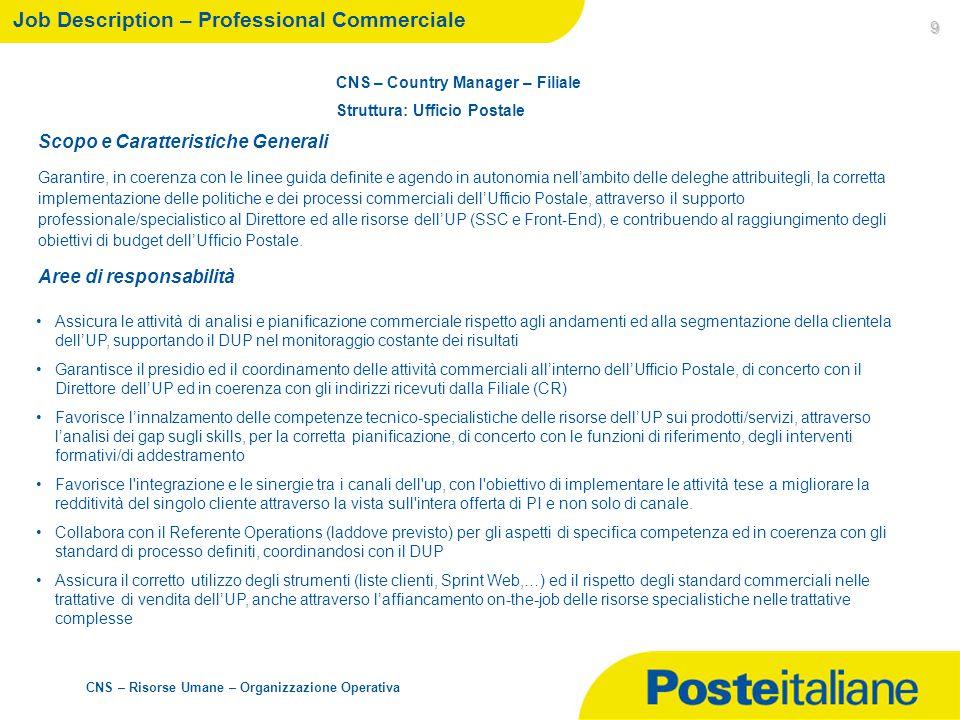 CNS – Risorse Umane – Organizzazione Operativa 9 Job Description – Professional Commerciale CNS – Country Manager – Filiale Struttura: Ufficio Postale