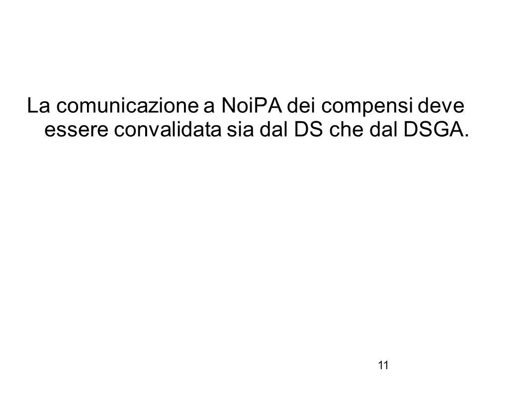 11 La comunicazione a NoiPA dei compensi deve essere convalidata sia dal DS che dal DSGA.