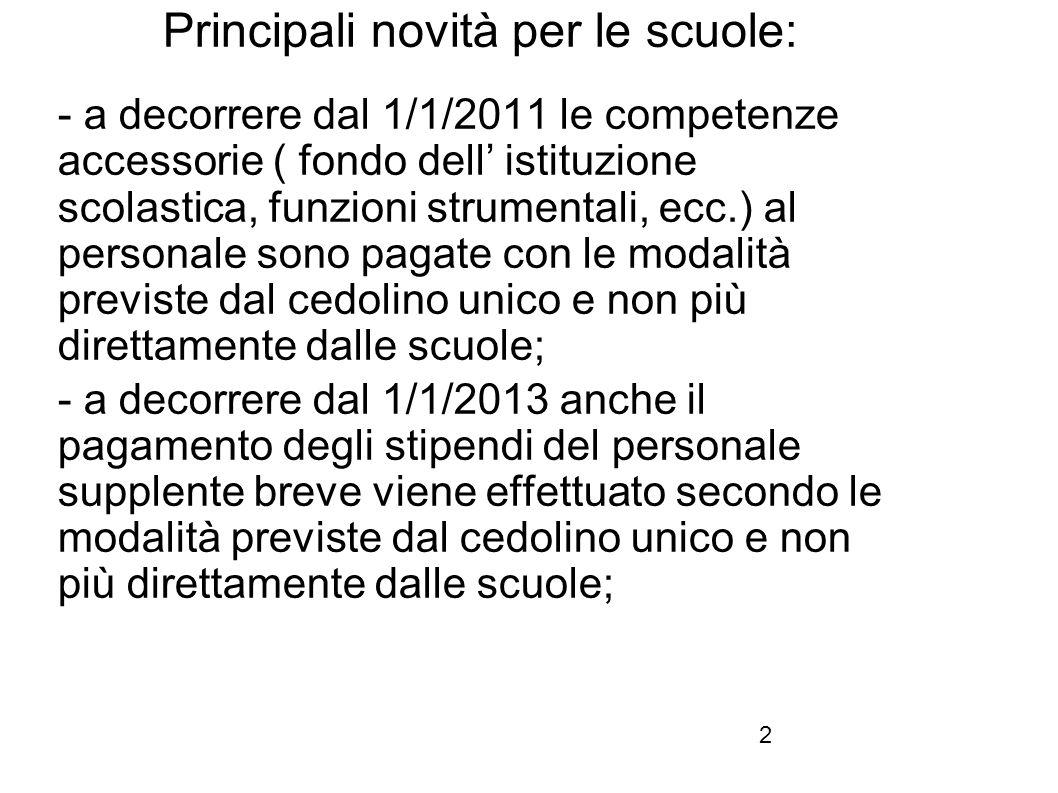 2 Principali novità per le scuole: - a decorrere dal 1/1/2011 le competenze accessorie ( fondo dell' istituzione scolastica, funzioni strumentali, ecc