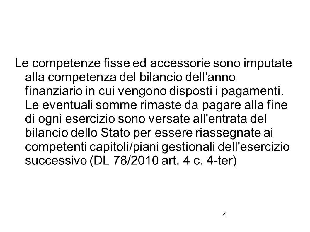 4 Le competenze fisse ed accessorie sono imputate alla competenza del bilancio dell'anno finanziario in cui vengono disposti i pagamenti. Le eventuali