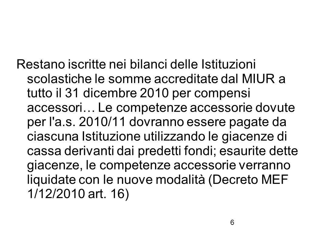 6 Restano iscritte nei bilanci delle Istituzioni scolastiche le somme accreditate dal MIUR a tutto il 31 dicembre 2010 per compensi accessori… Le comp