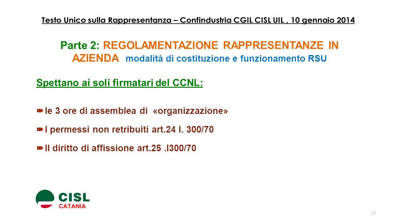 Parte 2: REGOLAMENTAZIONE RAPPRESENTANZE IN AZIENDA modalità di costituzione e funzionamento RSU Spettano ai soli firmatari del CCNL:  le 3 ore di as