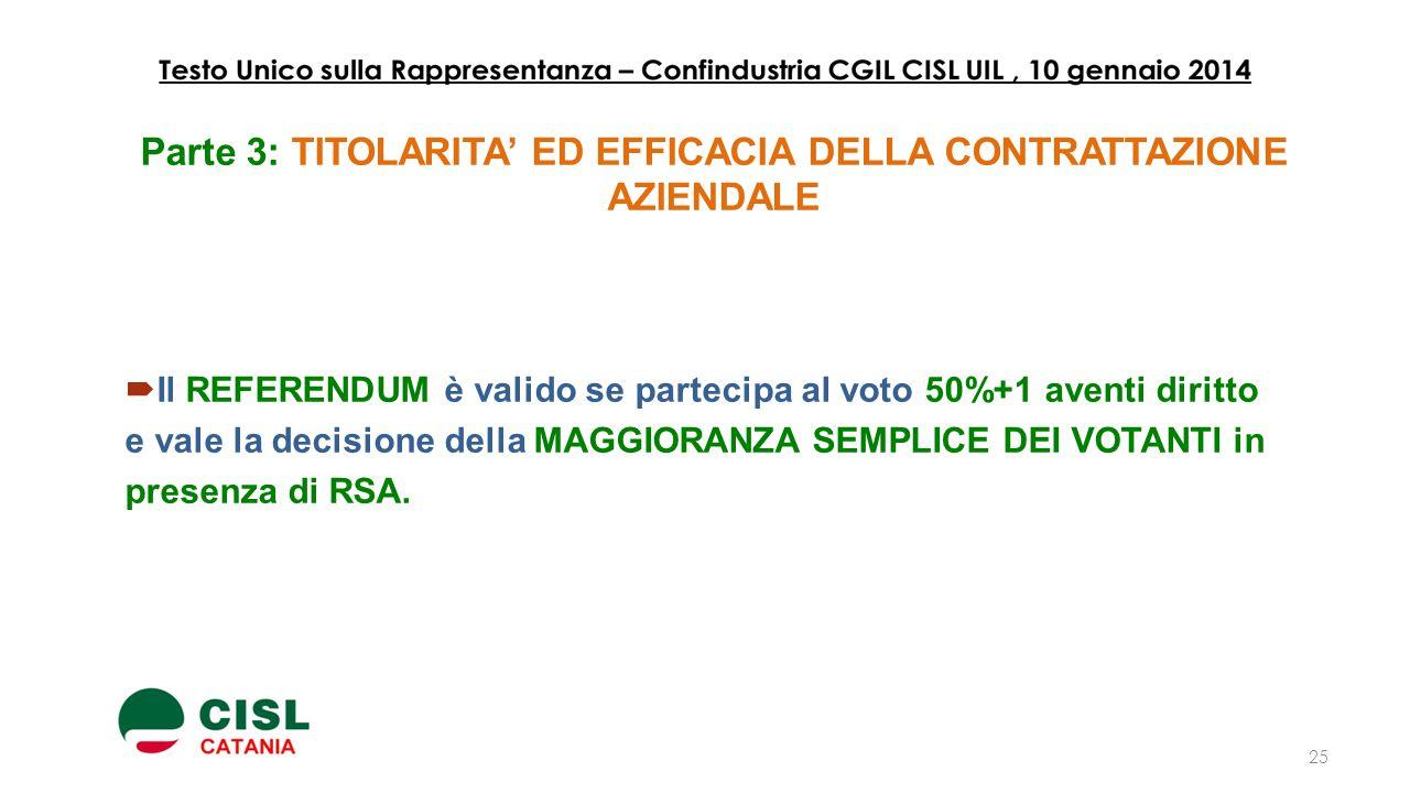 Parte 3: TITOLARITA' ED EFFICACIA DELLA CONTRATTAZIONE AZIENDALE  Il REFERENDUM è valido se partecipa al voto 50%+1 aventi diritto e vale la decision