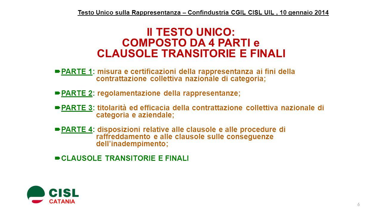 Testo Unico sulla Rappresentanza – Confindustria CGIL CISL UIL, 10 gennaio 2014 Il TESTO UNICO: COMPOSTO DA 4 PARTI e CLAUSOLE TRANSITORIE E FINALI 