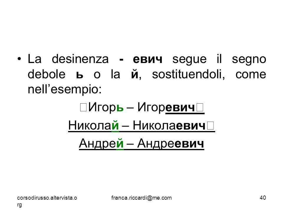 La desinenza - евич segue il segno debole ь o la й, sostituendoli, come nell'esempio: Игорь – Игоревич Николай – Николаевич Андрей – Андреевич corsodi