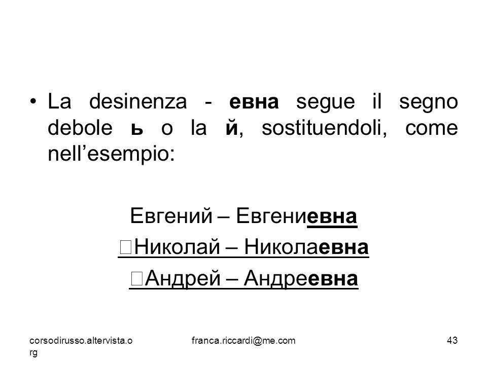 La desinenza - евна segue il segno debole ь o la й, sostituendoli, come nell'esempio: Евгений – Евгениевна Николай – Николаевна Андрей – Андреевна cor
