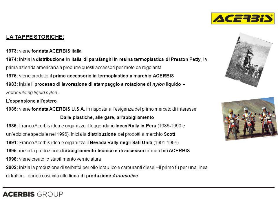 LA TAPPE STORICHE: 1973: viene fondata ACERBIS Italia 1974: inizia la distribuzione in Italia di parafanghi in resina termoplastica di Preston Petty,