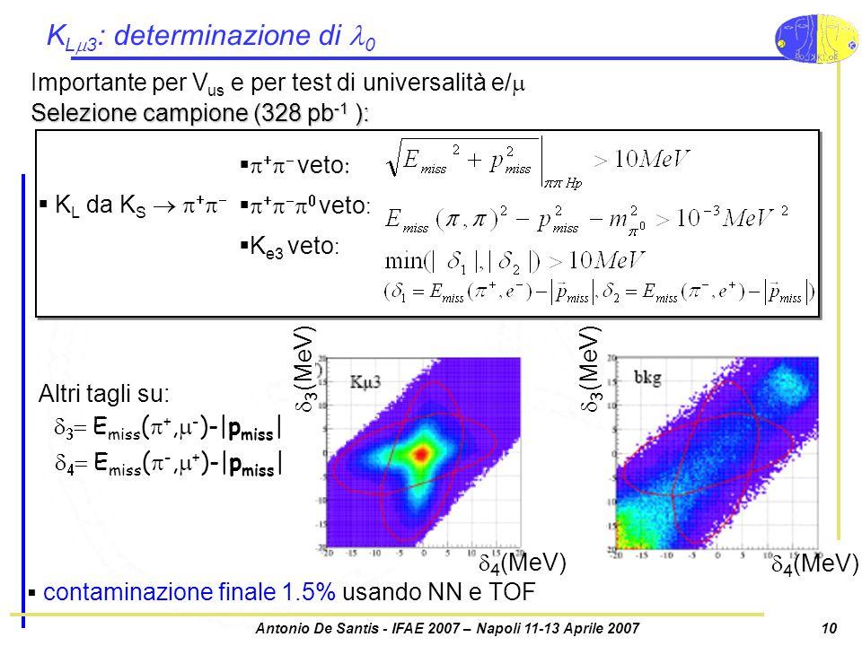 Antonio De Santis - IFAE 2007 – Napoli 11-13 Aprile 200710 K L  3 : determinazione di 0  contaminazione finale 1.5% usando NN e TOF Importante per V us e per test di universalità e/   4 (MeV)  3 (MeV) Altri tagli su:    E miss (  +,  - )-|p miss |    E miss (  -,  + )-|p miss | Selezione campione (328 pb -1 ):  K L da K S           veto          veto :   K e3 veto :