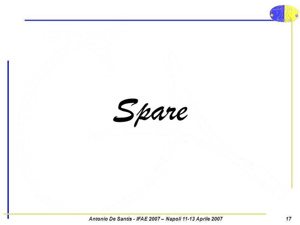 Antonio De Santis - IFAE 2007 – Napoli 11-13 Aprile 200717 Spare