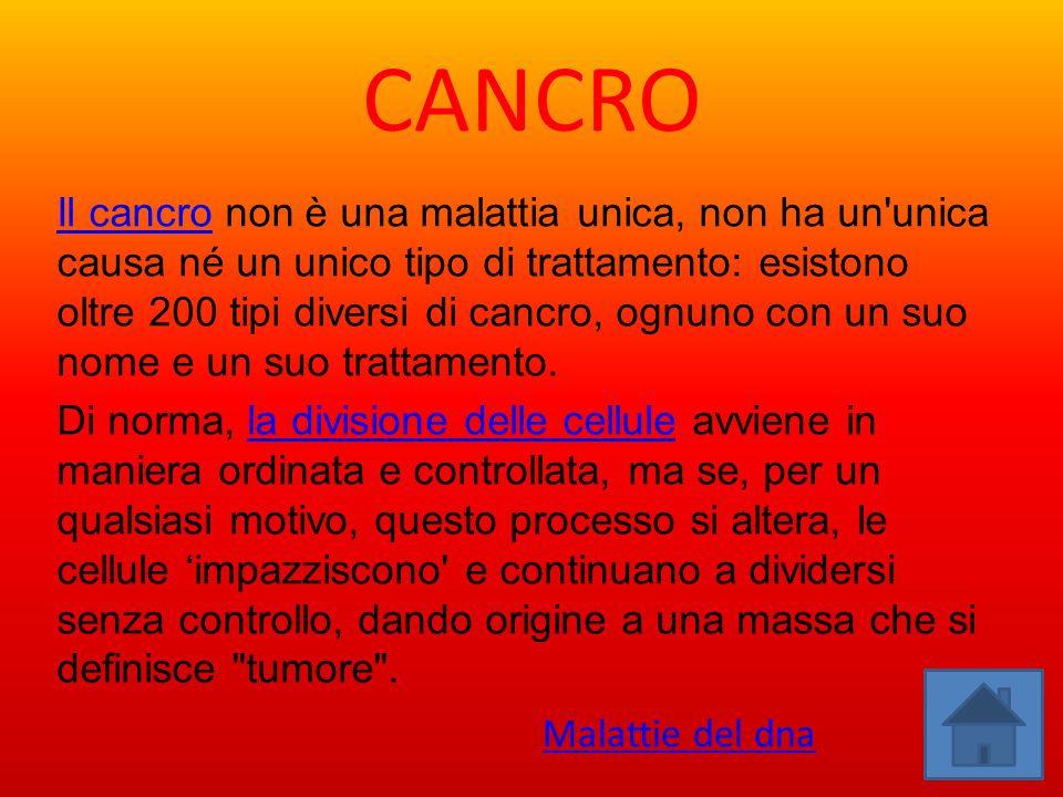 CANCRO Il cancroIl cancro non è una malattia unica, non ha un'unica causa né un unico tipo di trattamento: esistono oltre 200 tipi diversi di cancro,