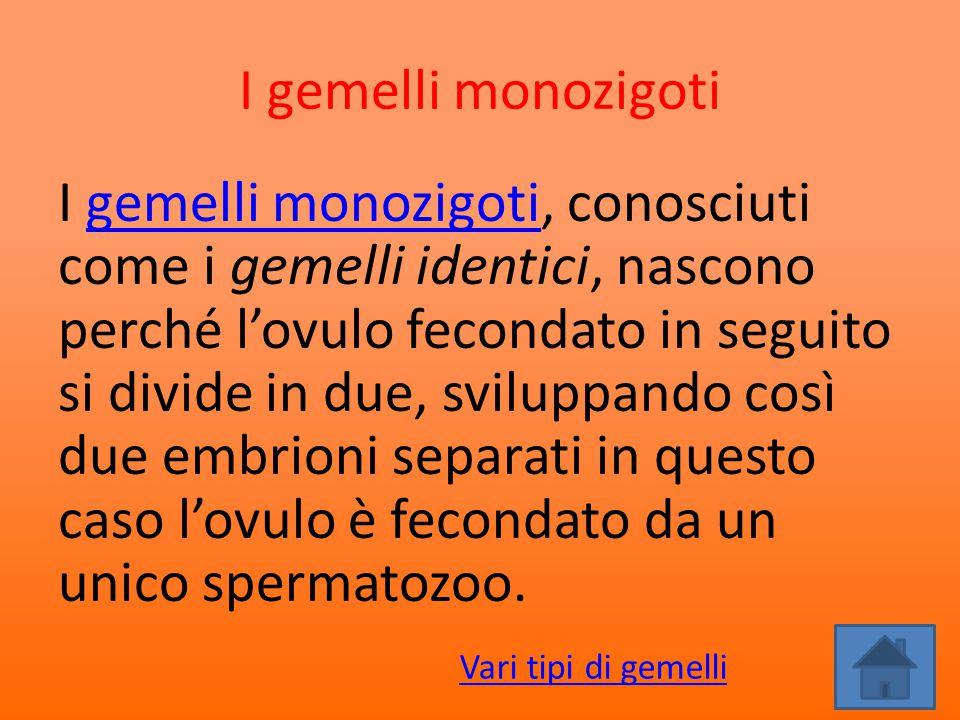 I gemelli monozigoti I gemelli monozigoti, conosciuti come i gemelli identici, nascono perché l'ovulo fecondato in seguito si divide in due, sviluppan