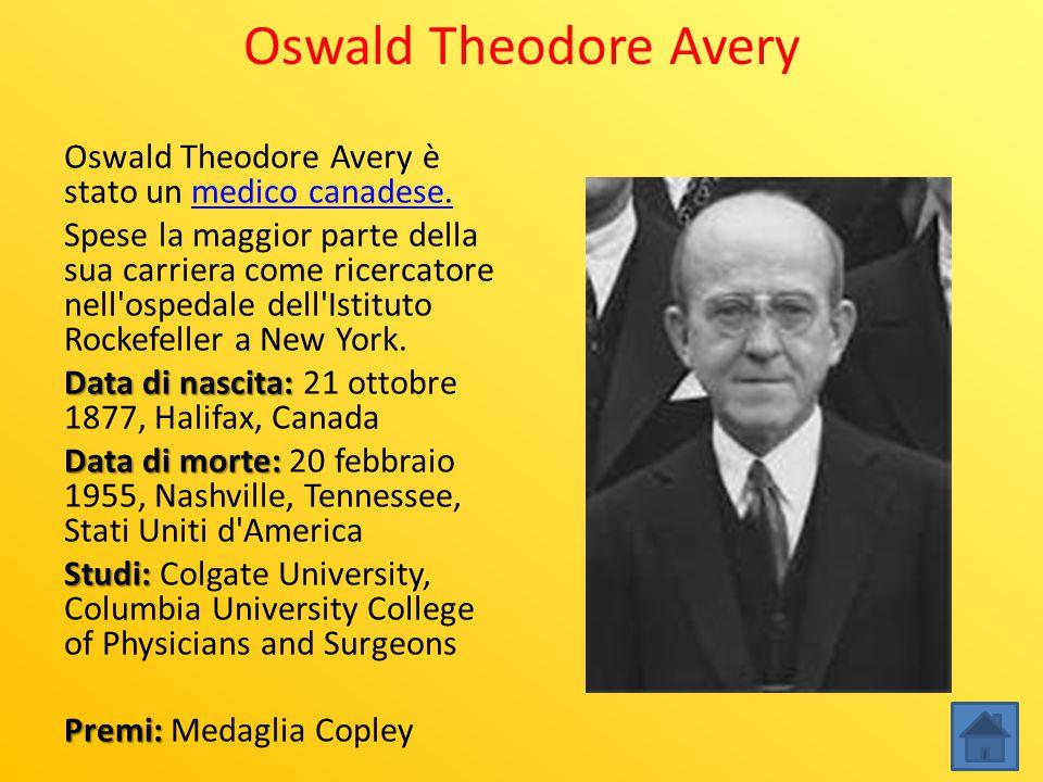 Oswald Theodore Avery Oswald Theodore Avery è stato un medico canadese.medico canadese. Spese la maggior parte della sua carriera come ricercatore nel