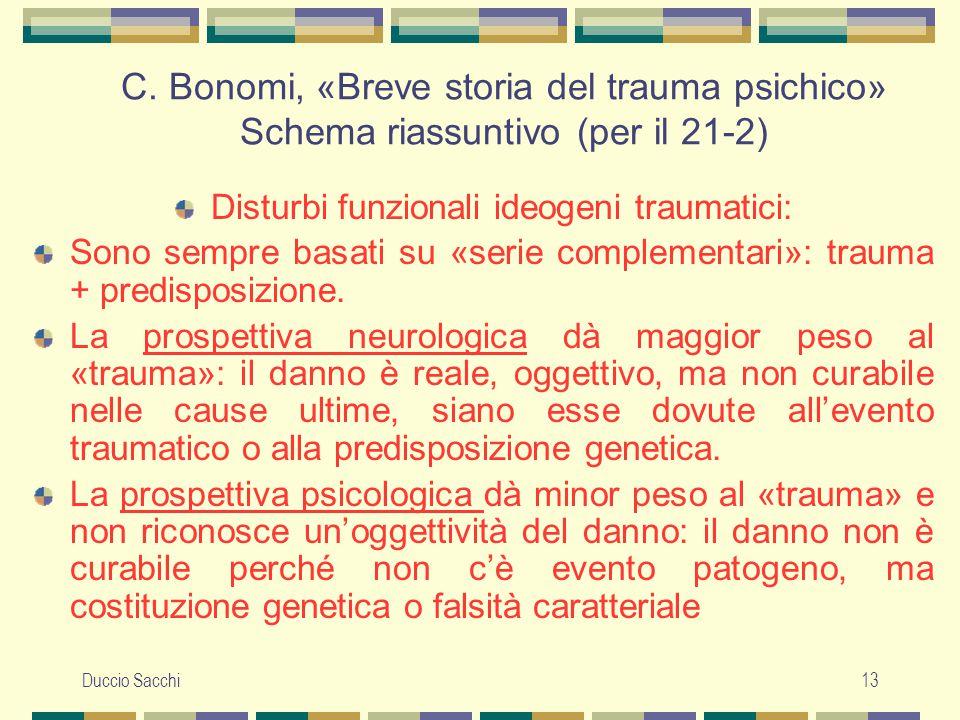 Duccio Sacchi13 C. Bonomi, «Breve storia del trauma psichico» Schema riassuntivo (per il 21-2) Disturbi funzionali ideogeni traumatici: Sono sempre ba