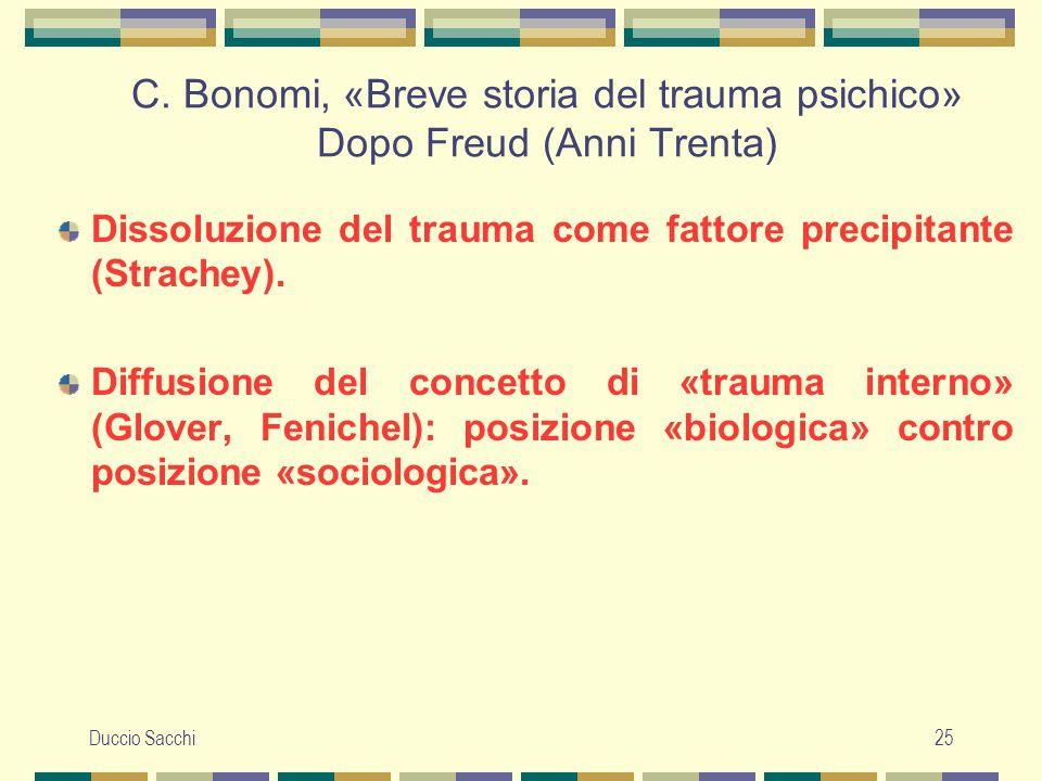 Duccio Sacchi25 C. Bonomi, «Breve storia del trauma psichico» Dopo Freud (Anni Trenta) Dissoluzione del trauma come fattore precipitante (Strachey). D