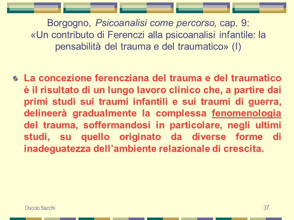 Duccio Sacchi37 Borgogno, Psicoanalisi come percorso, cap. 9: «Un contributo di Ferenczi alla psicoanalisi infantile: la pensabilità del trauma e del