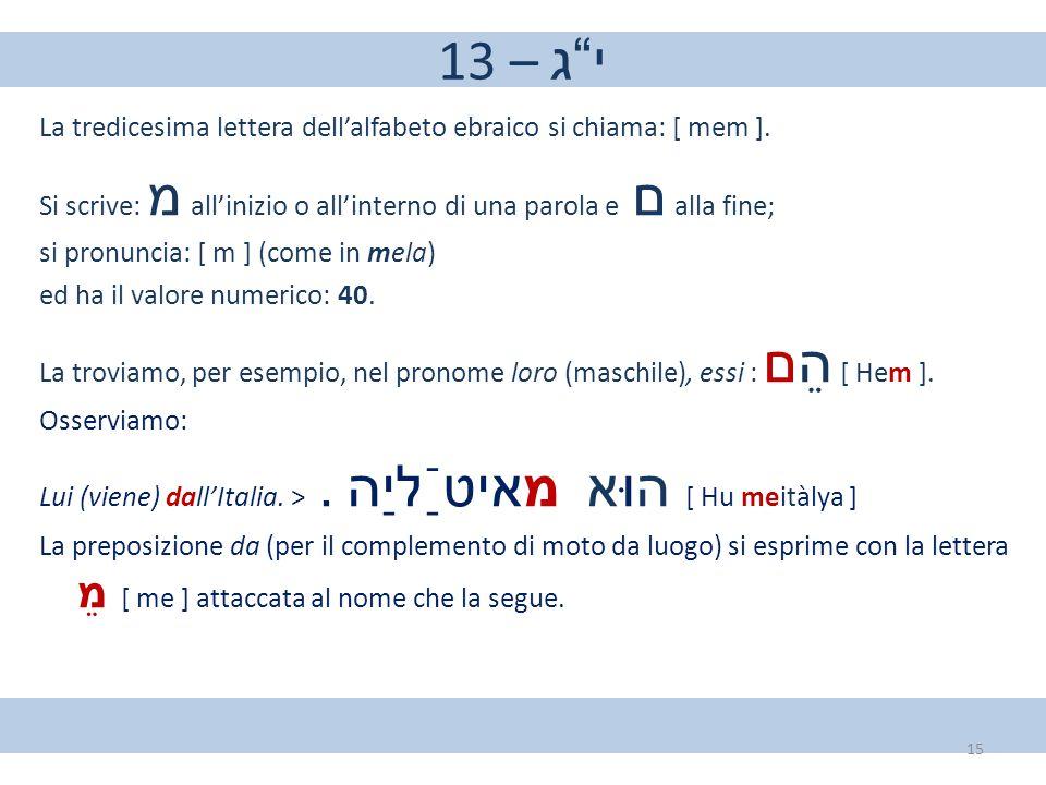 """13 – י""""ג La tredicesima lettera dell'alfabeto ebraico si chiama: [ mem ]. Si scrive: מ all'inizio o all'interno di una parola e ם alla fine; si pronun"""