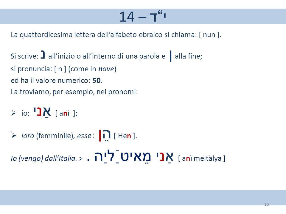 """14 – י""""ד La quattordicesima lettera dell'alfabeto ebraico si chiama: [ nun ]. Si scrive: נ all'inizio o all'interno di una parola e ן alla fine; si pr"""