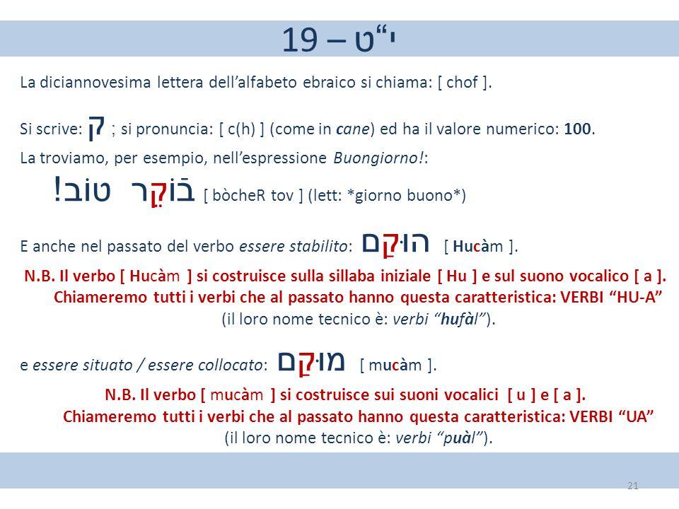 """19 – י""""ט La diciannovesima lettera dell'alfabeto ebraico si chiama: [ chof ]. Si scrive: ק ; si pronuncia: [ c(h) ] (come in cane) ed ha il valore num"""