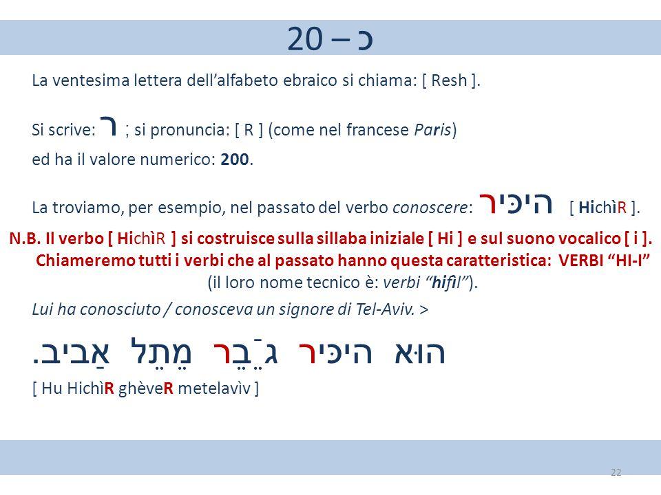 20 – כ La ventesima lettera dell'alfabeto ebraico si chiama: [ Resh ]. Si scrive: ר ; si pronuncia: [ R ] (come nel francese Paris) ed ha il valore nu