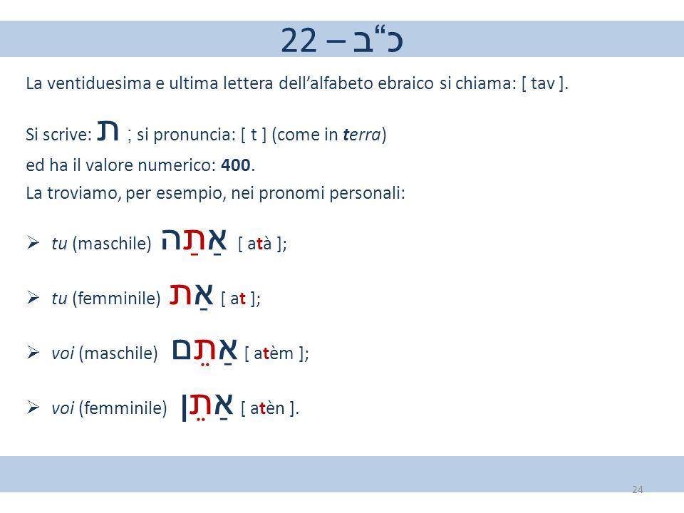 "22 – כ""ב La ventiduesima e ultima lettera dell'alfabeto ebraico si chiama: [ tav ]. Si scrive: ת ; si pronuncia: [ t ] (come in terra) ed ha il valore"