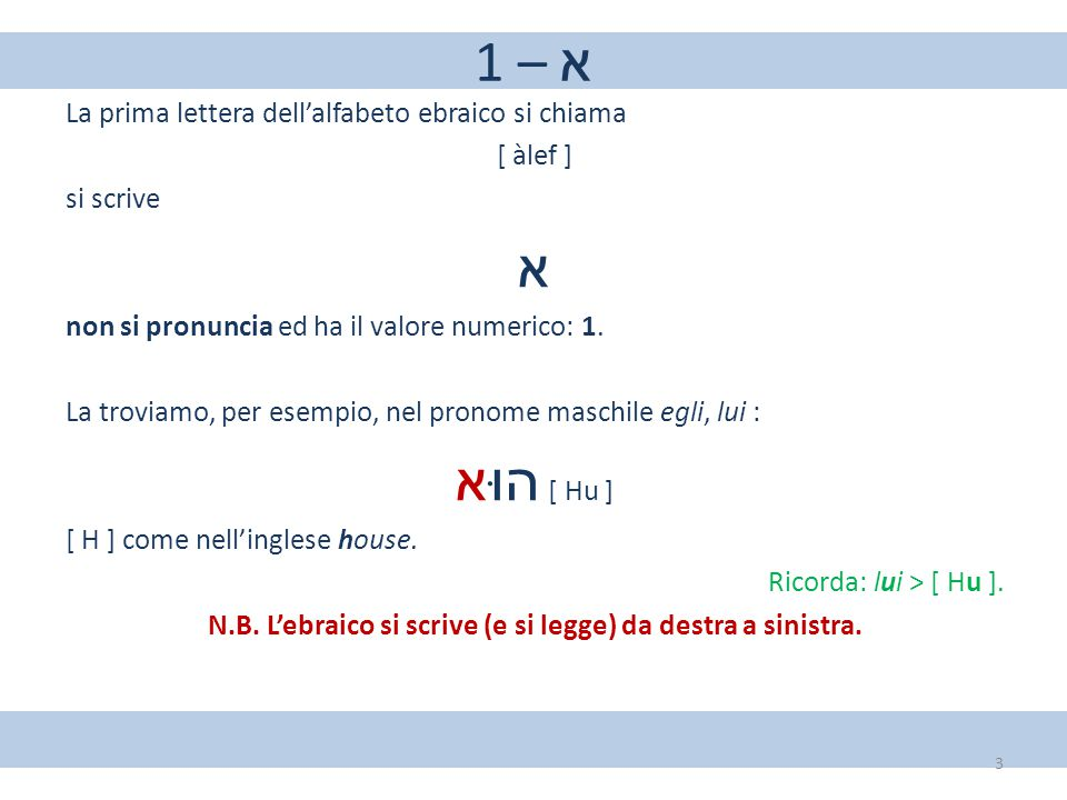 1 – א La prima lettera dell'alfabeto ebraico si chiama [ àlef ] si scrive א non si pronuncia ed ha il valore numerico: 1. La troviamo, per esempio, ne