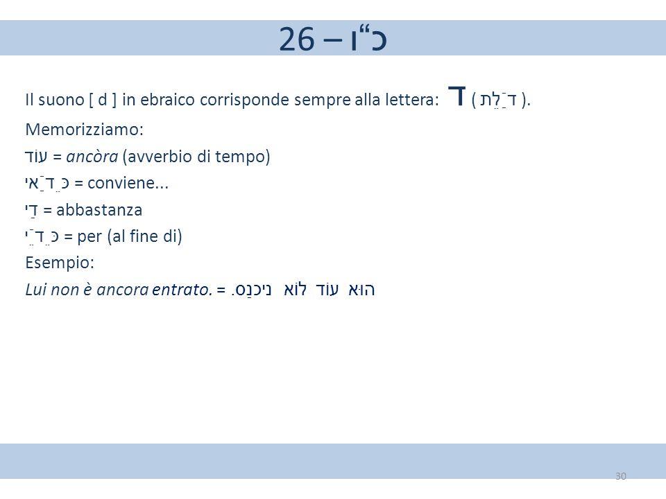"""26 – כ""""ו Il suono [ d ] in ebraico corrisponde sempre alla lettera: ד ( דַֿלֵת ). Memorizziamo: עוֹד = ancòra (avverbio di tempo) כֵּדַֿאי = conviene..."""