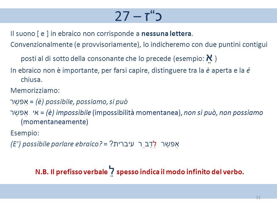 """27 – כ""""ז Il suono [ e ] in ebraico non corrisponde a nessuna lettera. Convenzionalmente (e provvisoriamente), lo indicheremo con due puntini contigui"""