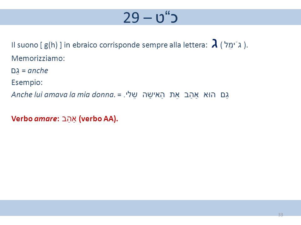 "29 – כ""ט Il suono [ g(h) ] in ebraico corrisponde sempre alla lettera: ג ( גֿימֵל ). Memorizziamo: גַם = anche Esempio: Anche lui amava la mia donna."
