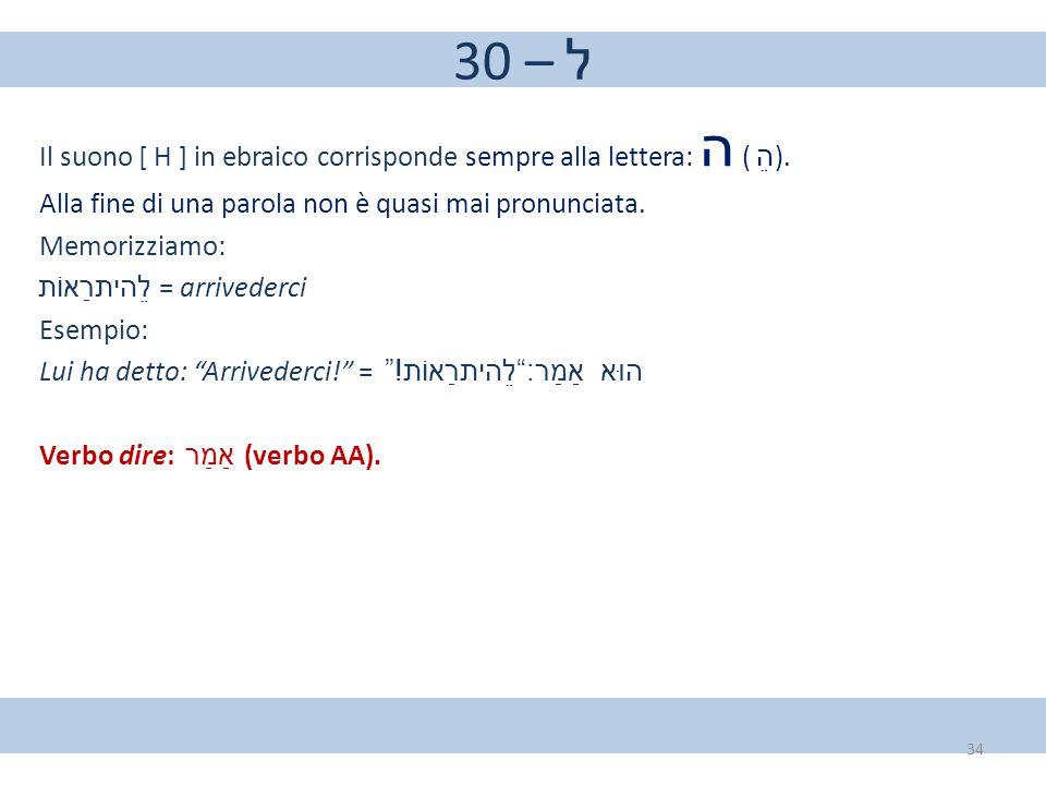 30 – ל Il suono [ H ] in ebraico corrisponde sempre alla lettera: ה ( הֵ ). Alla fine di una parola non è quasi mai pronunciata. Memorizziamo: לֵהיתרַ